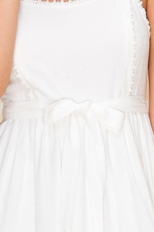 Spaghetti strap dress w/ruffle trim & tie waist