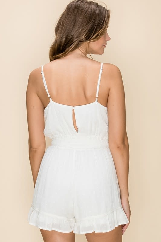 White swiss dot romper w/drawstring waist