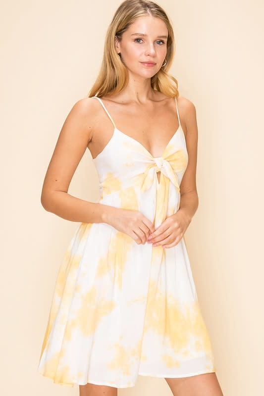 Yellow tie front tie dye dress