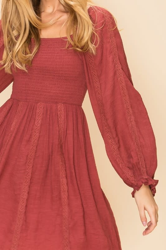 Maroon smocked peasant dress