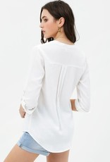 White pocket front button down top