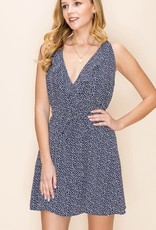 Print deep V ruffle trim tie back dress