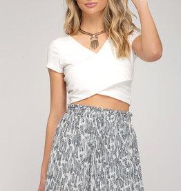 Grey snake skin print pleated skirt