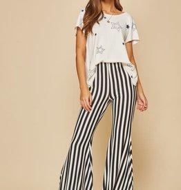 Black & white stripe flare pants