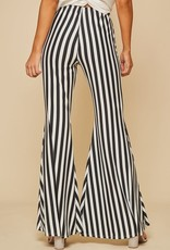 Black & white stripe flare pants