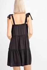 Black tiered dress w/shoulder tie