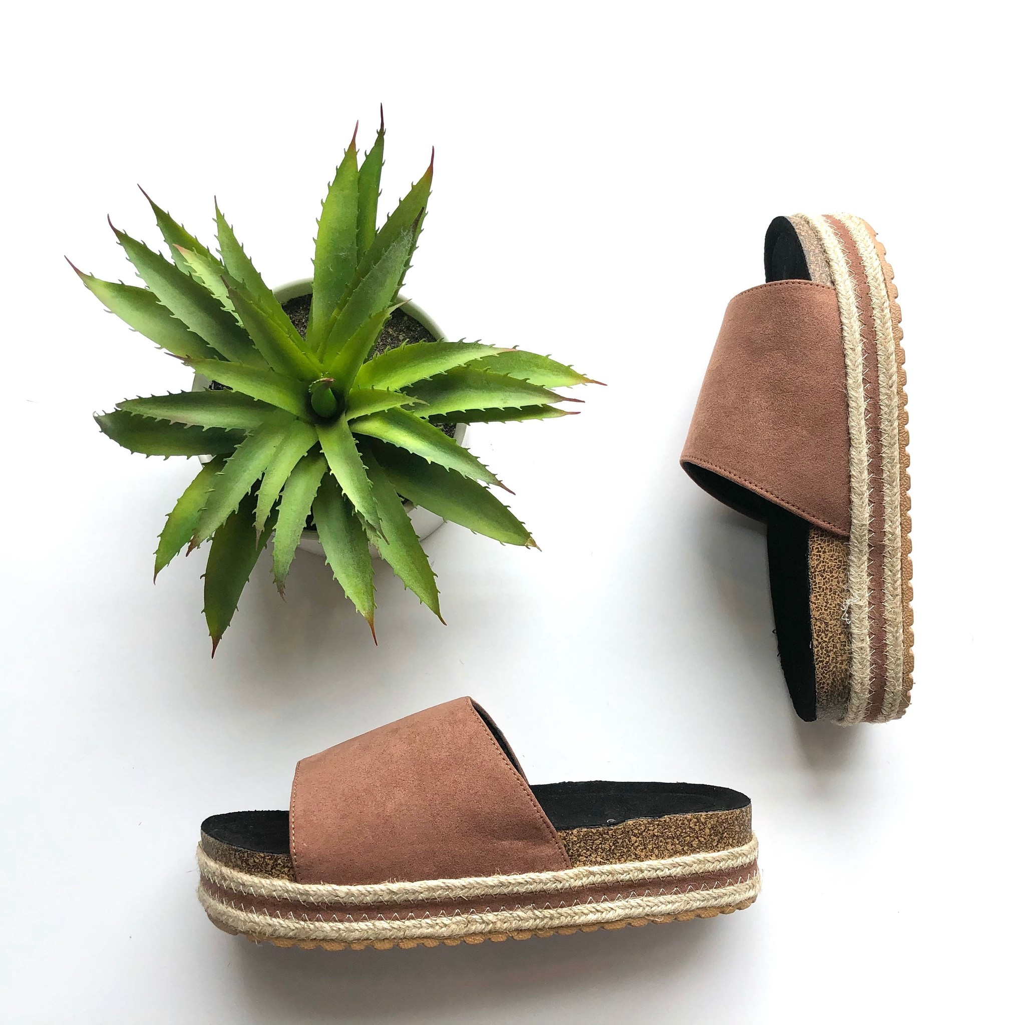 One band espadrille flatform slide
