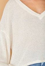 Speckled V neck balloon sleeve top