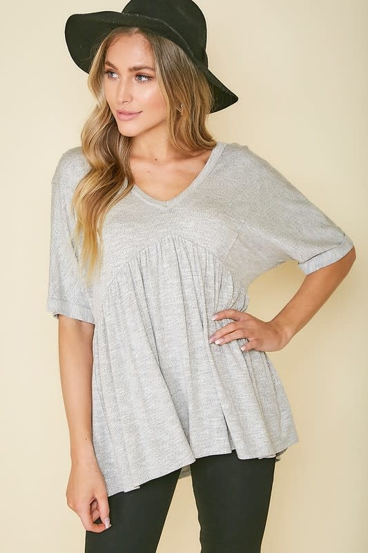 Grey babydoll top w/tie back