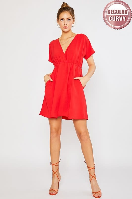 Red surplice front babydoll style dress
