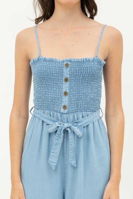 Smocked bodice jumpsuit