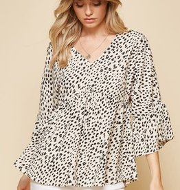 Leopard print V neck baby doll style top