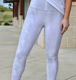 White reptile print athleisure leggings