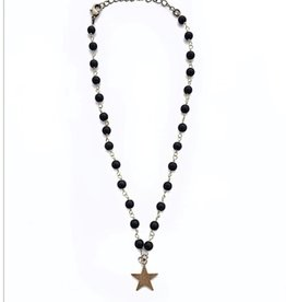 Black bead star necklace