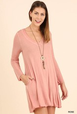 Rose washed v neck dress