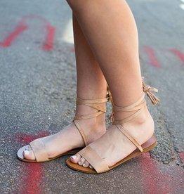 Lace up ankle  flat sandal