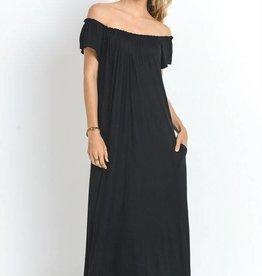 Black elastic neckline maxi dress