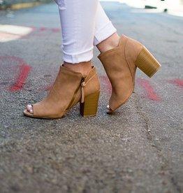 Camel peep toe ankle bootie