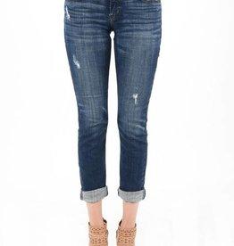 Dark wash mid rise skinny crop jeans