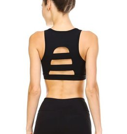Black sports bra w/cutout back