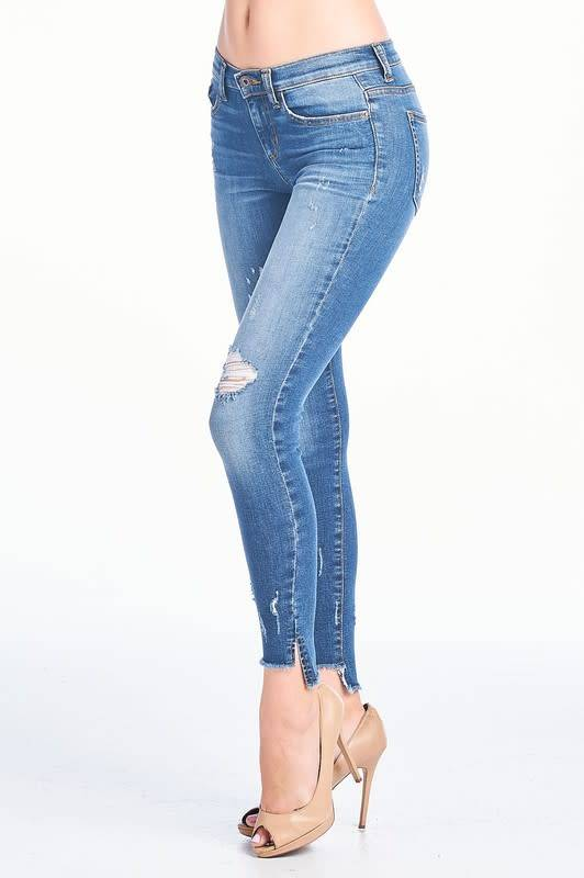 fe9bfed8 Dk wash distressed mid rise skinny jeans - Image Boutique