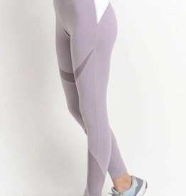 Mixed mesh lavender leggings