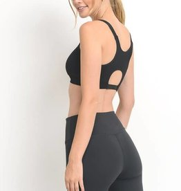 Black cutout back seamless sports bra