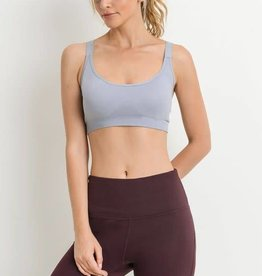 Grey cutout back seamless sports bra