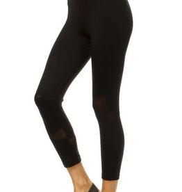 Black high waist capri leggings with mesh panel