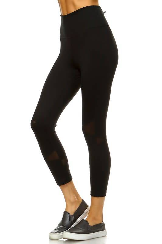 99ddf597df Black high waist capri leggings w/mesh panel - Image Boutique