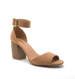 Camel one band ankle strap heel
