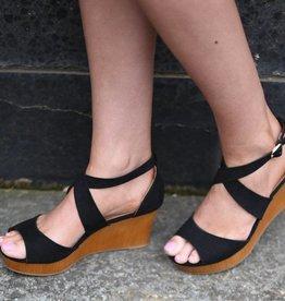Black strappy wedge sandal