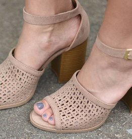 Taupe perforated ankle strap heel