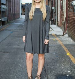 Charcoal cupro ribbed long sleeve dress