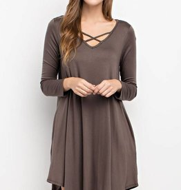 Modal fabric cross front pocket dress