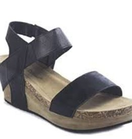 Black sling back low wedge
