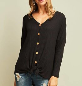 Black waffle knit button down top