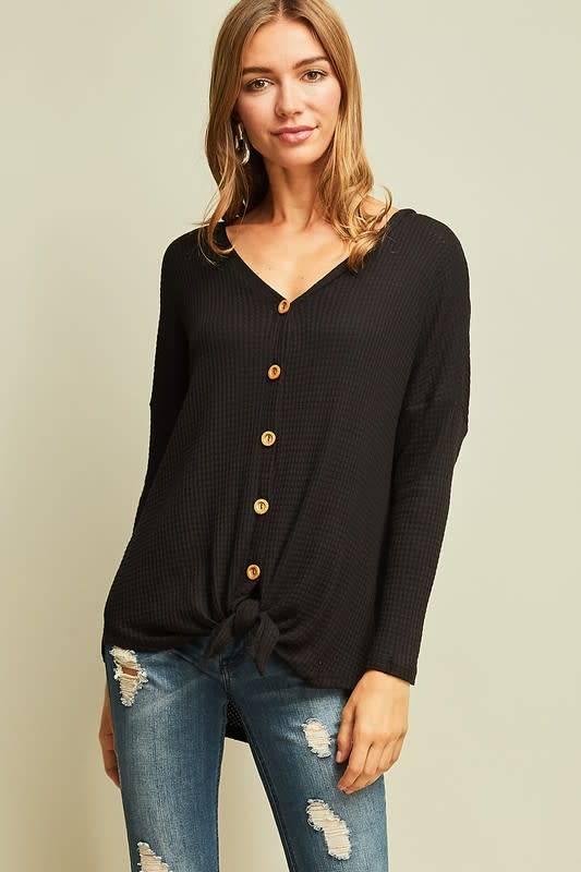 a66436953b33d Black waffle knit button down top - Image Boutique