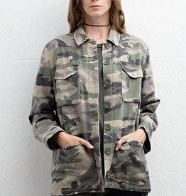 Camo print army jacket w/pockets