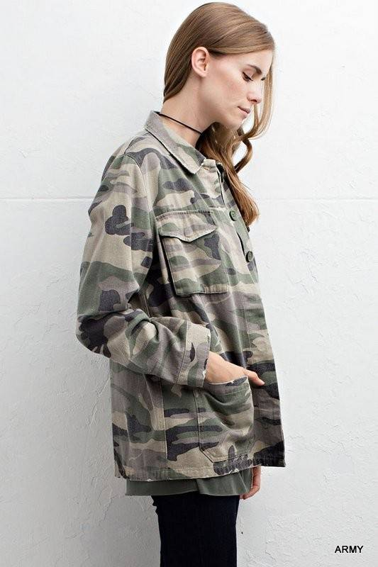 e3bef82e442f8 Camo Print Army Jacket w/pockets | Women's Clothing & More | Image ...