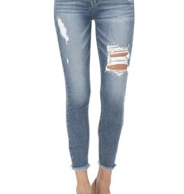 Medium wash, low rise, skinny crop jeans