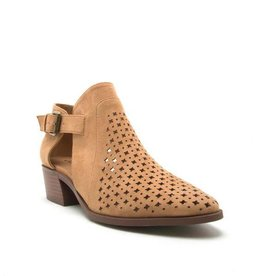 Camel perforated open side bootie