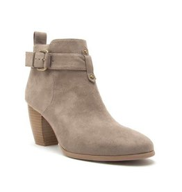 Taupe suede stacked heel, buckle bootie