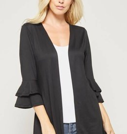Black cardigan with bell, tiered sleeves
