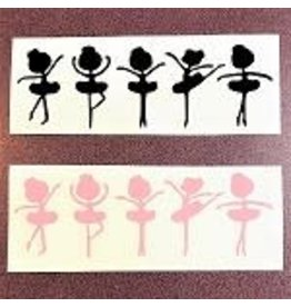 C and J Merchantile Five Ballerina Girls Window Decal