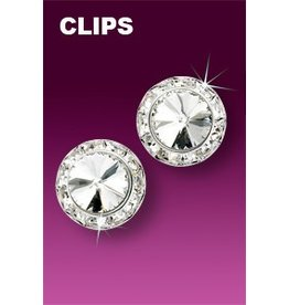 Rhinestone Earrings 15mm Clip