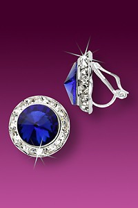 Rhinestone Earrings 15mm Clip