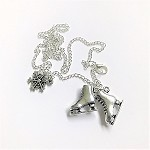 C and J Merchantile Ice Skates and Snowflake Necklace