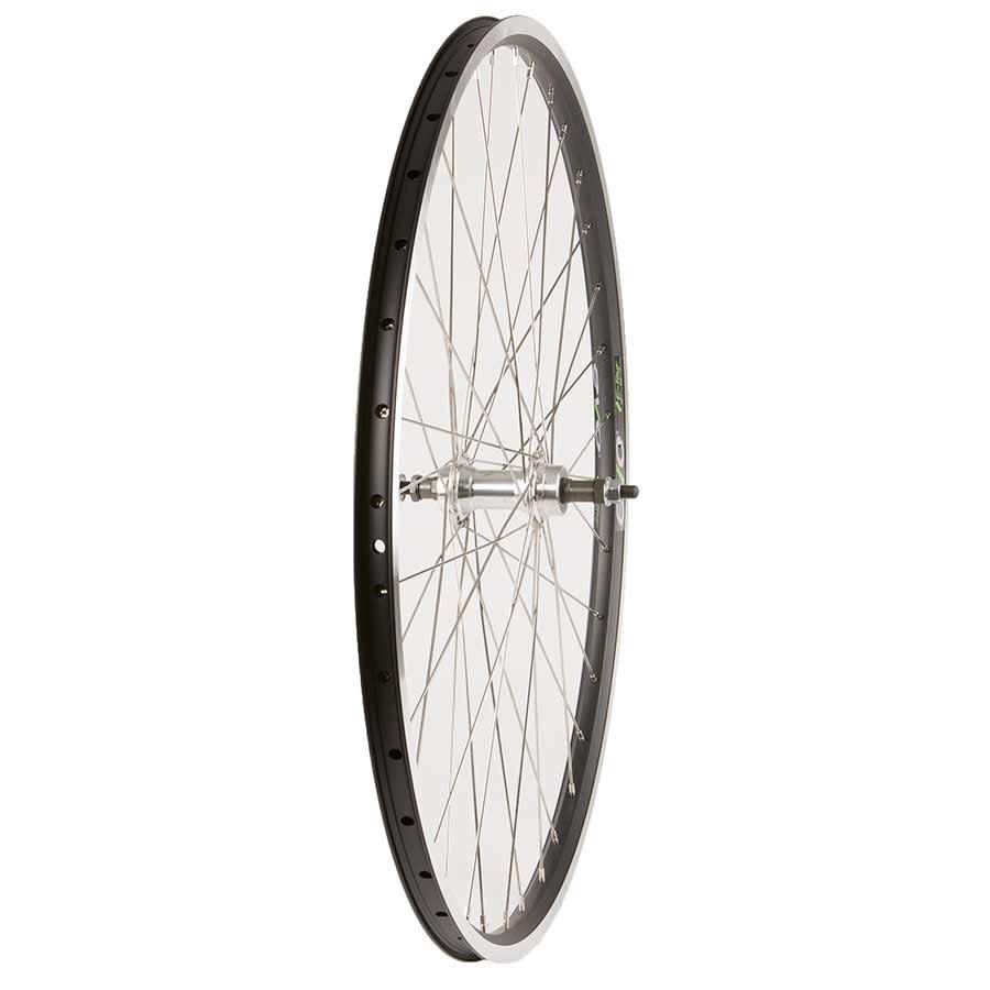 WHEEL SHOP Wheel Shp, Rear 700C Wheel, 36H Black Ally Duble Wall Ev E Tur 19/ Silver Frmula FM-31 Nutted Axle FW hub, Stainless Spkes