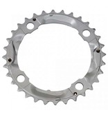 Shimano Shiman, Y1M098060, 32T, 9sp, BCD: 104mm, 4 Blt, Alivi FC-M430-9, Middle Chainring, Fr MTB triple, Steel, Silver